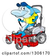 Clipart Of A Cartoon Blue Shark Operating A Red Riding Lawn Mower Royalty Free Vector Illustration by LaffToon
