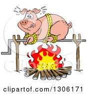 Clipart Of A Cartoon Scared Pig On A Spit Over A Fire Royalty Free Vector Illustration by LaffToon