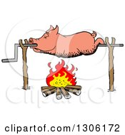 Clipart Of A Cartoon Dead Pig Roasing On A Spit Over A Fire Royalty Free Vector Illustration