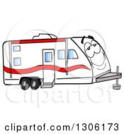 Clipart Of A Cartoon Happy And Relaxed Camper Trailer Character Royalty Free Vector Illustration by LaffToon