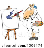 Cartoon Artist Sheep Painting A Canvas