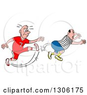Clipart Of A Mad White Male Soccer Player Kicking A Referee In The Butt Royalty Free Vector Illustration by LaffToon