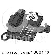 Clipart Of A Cartoon Happy Desktop Telephone Character Giving A Thumb Up Royalty Free Vector Illustration