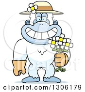 Cartoon Happy Grinning Yeti Abominable Snowman Monkey Wearing Gardening Gloves A Hat And Holding Spring Daisy Flowers