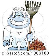 Cartoon Happy Grinning Yeti Abominable Snowman Monkey With A Rake And Autumn Leaves