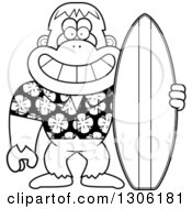 Lineart Clipart Of A Cartoon Black And White Happy Grinning Yeti Abominable Snowman Monkey With A Summer Surf Board Royalty Free Outline Vector Illustration by Cory Thoman