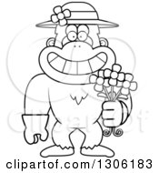 Lineart Clipart Of A Cartoon Black And White Happy Grinning Yeti Abominable Snowman Monkey Wearing Gardening Gloves A Hat And Holding Spring Daisy Flowers Royalty Free Outline Vector Illustration by Cory Thoman
