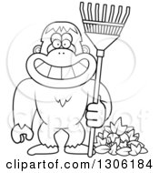 Lineart Clipart Of A Cartoon Black And White Happy Grinning Yeti Abominable Snowman Monkey With A Rake And Autumn Leaves Royalty Free Outline Vector Illustration