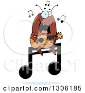 Clipart Of A Cartoon Happy Flea Character Playing A Guitar On A Music Note Royalty Free Vector Illustration by Cory Thoman