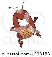Clipart Of A Cartoon Happy Flea Character Jumping With Excitement Royalty Free Vector Illustration by Cory Thoman
