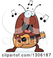 Clipart Of A Cartoon Happy Flea Character Playing A Guitar Royalty Free Vector Illustration by Cory Thoman
