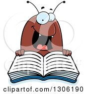 Clipart Of A Cartoon Happy Flea Character Reading A Book Royalty Free Vector Illustration by Cory Thoman