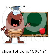 Clipart Of A Cartoon Happy Flea Teacher Character Pointing To A Chalk Board Royalty Free Vector Illustration by Cory Thoman