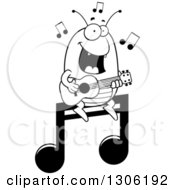 Lineart Clipart Of A Cartoon Black And White Happy Flea Character Playing A Guitar On A Music Note Royalty Free Outline Vector Illustration by Cory Thoman