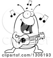Lineart Clipart Of A Cartoon Black And White Happy Flea Character Playing A Guitar Royalty Free Outline Vector Illustration by Cory Thoman