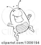 Lineart Clipart Of A Cartoon Black And White Happy Flea Character Jumping With Excitement Royalty Free Outline Vector Illustration by Cory Thoman