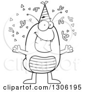 Lineart Clipart Of A Cartoon Black And White Happy Flea Character Celebrating At A Party Royalty Free Outline Vector Illustration by Cory Thoman