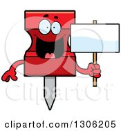 Clipart Of A Cartoon Happy Red Push Pin Character Holding A Blank Sign Royalty Free Vector Illustration by Cory Thoman