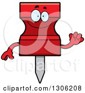Clipart Of A Cartoon Happy Friendly Red Push Pin Character Waving Royalty Free Vector Illustration by Cory Thoman