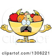 Cartoon Scared Fruit Bowl Character Screaming