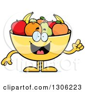 Cartoon Smart Fruit Bowl Character With An Idea