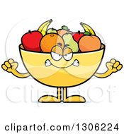 Cartoon Mad Fruit Bowl Character Holding Up Fists