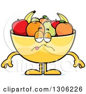 Clipart Of A Cartoon Sick Fruit Bowl Character Royalty Free Vector Illustration