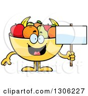 Clipart Of A Cartoon Happy Fruit Bowl Character Holding A Blank Sign Royalty Free Vector Illustration by Cory Thoman