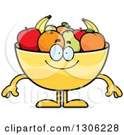 Clipart Of A Cartoon Happy Fruit Bowl Character Smiling Royalty Free Vector Illustration