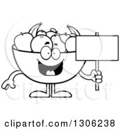 Lineart Clipart Of A Cartoon Black And White Happy Fruit Bowl Character Holding A Blank Sign Royalty Free Outline Vector Illustration by Cory Thoman