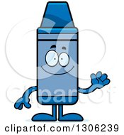 Clipart Of A Cartoon Happy Friendly Blue Crayon Character Waving Royalty Free Vector Illustration by Cory Thoman