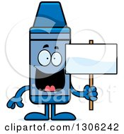 Clipart Of A Cartoon Happy Blue Crayon Character Holding A Blank Sign Royalty Free Vector Illustration by Cory Thoman