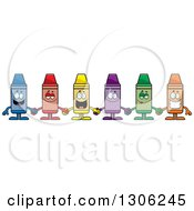 Clipart Of A Cartoon Group Of Happy Colorful Crayon Characters Holding Hands Royalty Free Vector Illustration by Cory Thoman