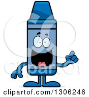 Clipart Of A Cartoon Happy Smart Blue Crayon Character With An Idea Royalty Free Vector Illustration by Cory Thoman