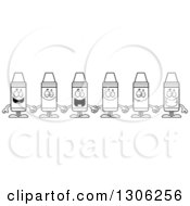 Lineart Clipart Of A Cartoon Group Of Happy Colorful Crayon Characters Holding Hands Royalty Free Outline Vector Illustration by Cory Thoman