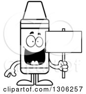 Lineart Clipart Of A Cartoon Happy Crayon Character Holding A Blank Sign Royalty Free Outline Vector Illustration by Cory Thoman