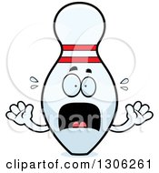 Clipart Of A Cartoon Scared Bowling Pin Character Screaming Royalty Free Vector Illustration by Cory Thoman