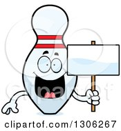 Clipart Of A Cartoon Happy Bowling Pin Character Holding A Blank Sign Royalty Free Vector Illustration by Cory Thoman
