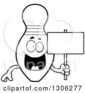 Lineart Clipart Of A Cartoon Black And White Happy Bowling Pin Character Holding A Blank Sign Royalty Free Outline Vector Illustration by Cory Thoman