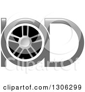 Clipart Of A Grayscale Tire And Letter IOD Alphabet Design Royalty Free Vector Illustration by Lal Perera
