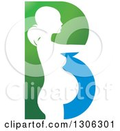 White Silhouetted Pregnant Woman In A Green And Blue Letter B
