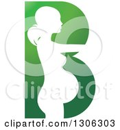 White Silhouetted Pregnant Woman In A Green Letter B