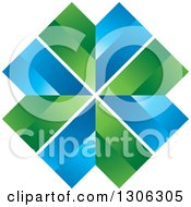 Clipart Of A Blue And Green X Royalty Free Vector Illustration