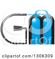 Clipart Of Blue Fire Extinguishers And Alphabet Letters GM Royalty Free Vector Illustration