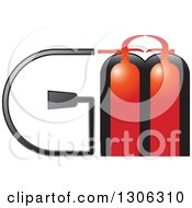 Clipart Of Red Fire Extinguishers And Alphabet Letters GM Royalty Free Vector Illustration