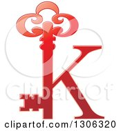 Clipart Of A Gradient Red Abstract Skeleton Key Alphabet Letter K Logo Royalty Free Vector Illustration