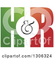 Clipart Of A Gradient Green And Red H And R Letter Alphabet Design Royalty Free Vector Illustration