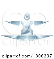 Clipart Of A Shiny Robotic Iron Woman Jumping Or Doing The Splits Royalty Free Vector Illustration by Lal Perera