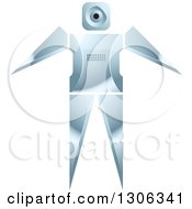 Clipart Of A Shiny Robotic Iron Man With Open Arms Royalty Free Vector Illustration by Lal Perera