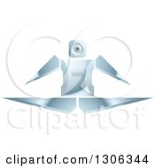Clipart Of A Shiny Robotic Iron Man Jumping Or Doing The Splits Royalty Free Vector Illustration by Lal Perera